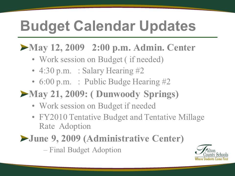 Budget Calendar Updates May 12, 2009 2:00 p.m. Admin.