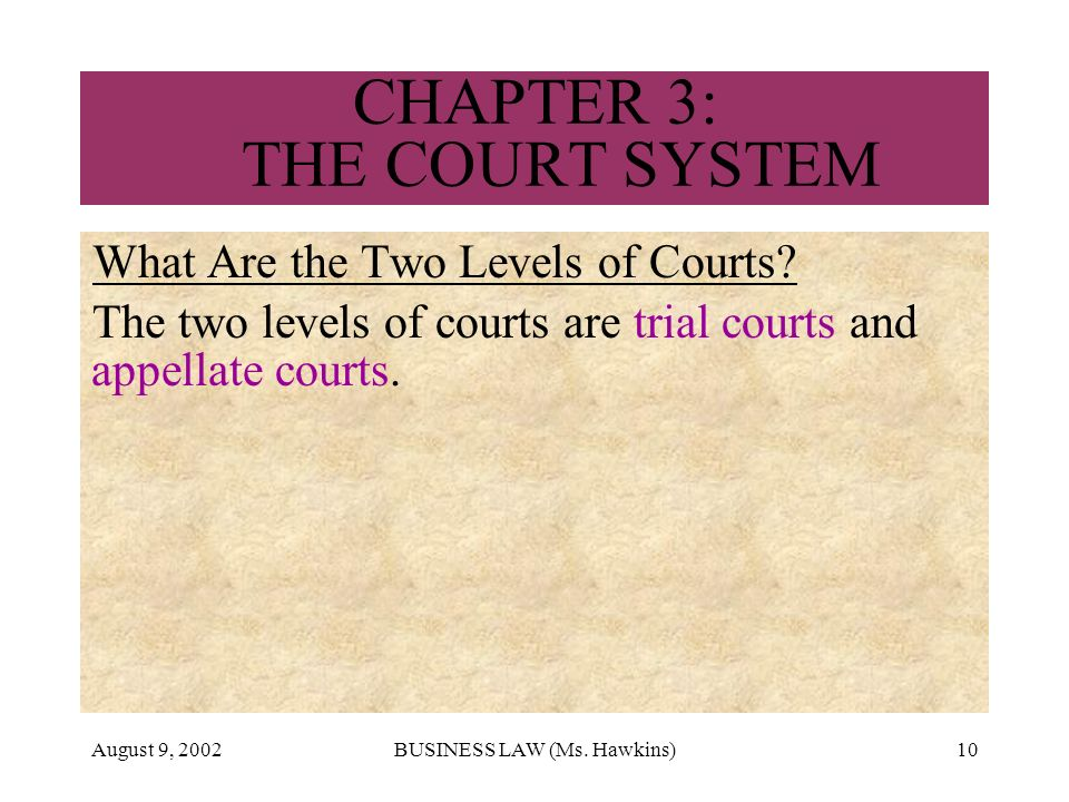August 9, 2002BUSINESS LAW (Ms. Hawkins)10 CHAPTER 3: THE COURT SYSTEM What Are the Two Levels of Courts? The two levels of courts are trial courts an