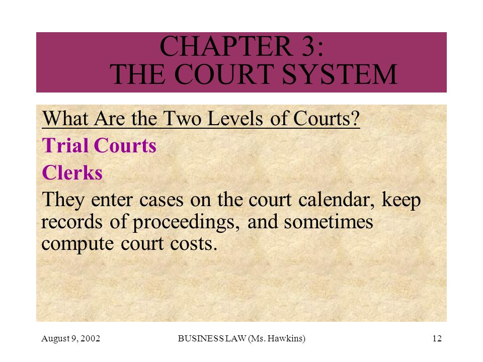 August 9, 2002BUSINESS LAW (Ms. Hawkins)12 CHAPTER 3: THE COURT SYSTEM What Are the Two Levels of Courts? Trial Courts Clerks They enter cases on the