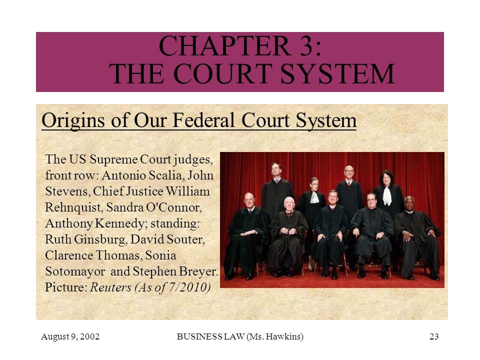 August 9, 2002BUSINESS LAW (Ms. Hawkins)23 CHAPTER 3: THE COURT SYSTEM Origins of Our Federal Court System The US Supreme Court judges, front row: Ant