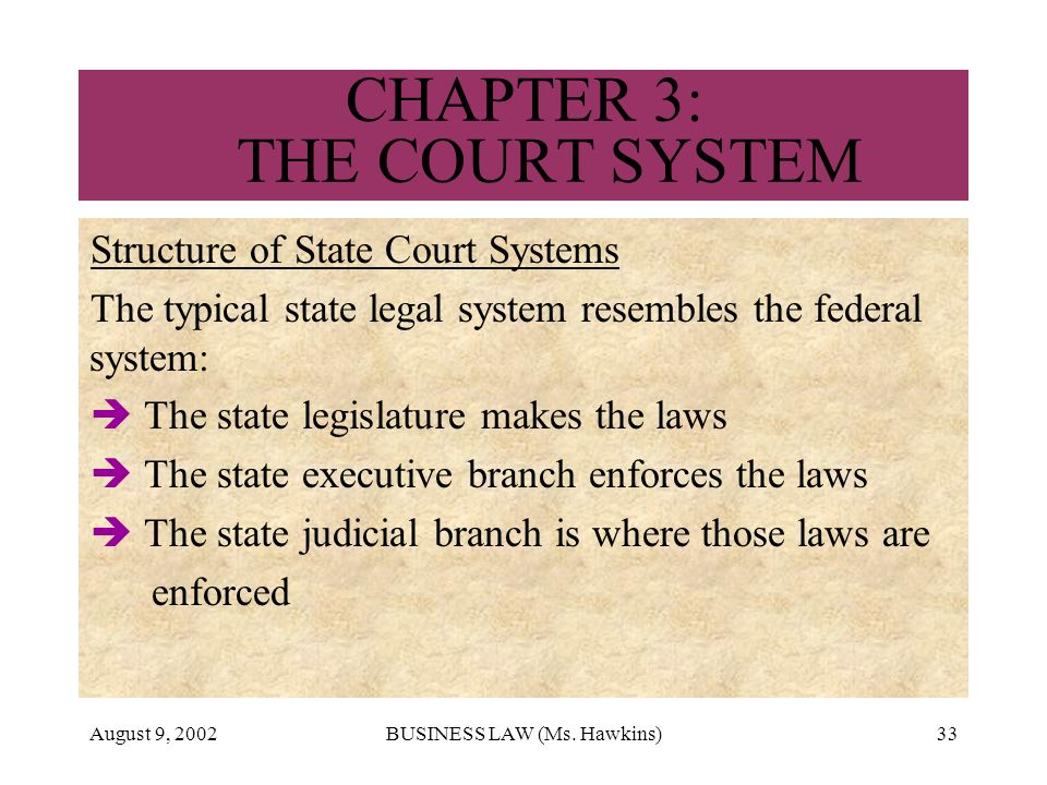 August 9, 2002BUSINESS LAW (Ms. Hawkins)33 CHAPTER 3: THE COURT SYSTEM Structure of State Court Systems The typical state legal system resembles the f