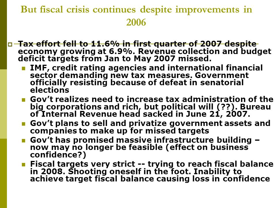 But fiscal crisis continues despite improvements in 2006 Tax effort fell to 11.6% in first quarter of 2007 despite economy growing at 6.9%.
