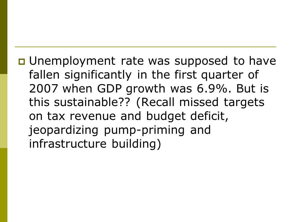 Unemployment rate was supposed to have fallen significantly in the first quarter of 2007 when GDP growth was 6.9%.