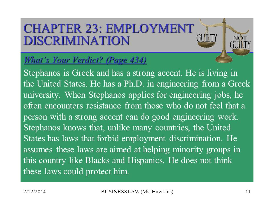 2/12/2014BUSINESS LAW (Ms.Hawkins)11 CHAPTER 23: EMPLOYMENT DISCRIMINATION Whats Your Verdict.
