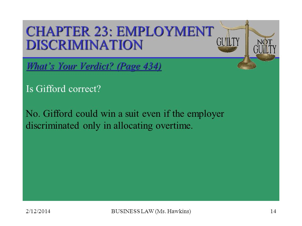 2/12/2014BUSINESS LAW (Ms.Hawkins)14 CHAPTER 23: EMPLOYMENT DISCRIMINATION Whats Your Verdict.