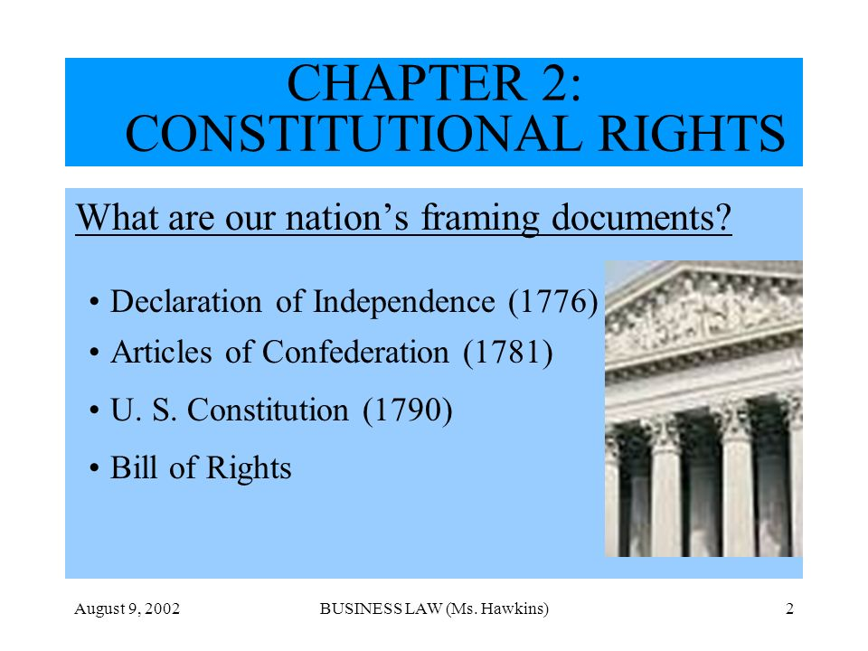 August 9, 2002BUSINESS LAW (Ms. Hawkins)2 What are our nations framing documents? Declaration of Independence (1776) Articles of Confederation (1781)