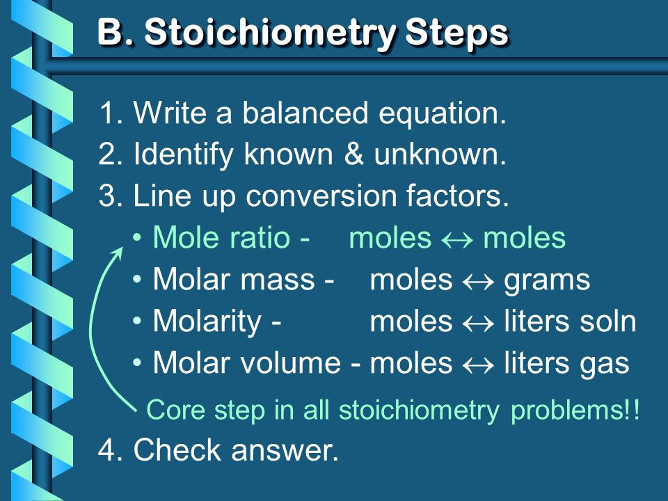 B. Stoichiometry Steps 1. Write a balanced equation. 2. Identify known & unknown. 3. Line up conversion factors. Mole ratio - moles moles Molar mass -