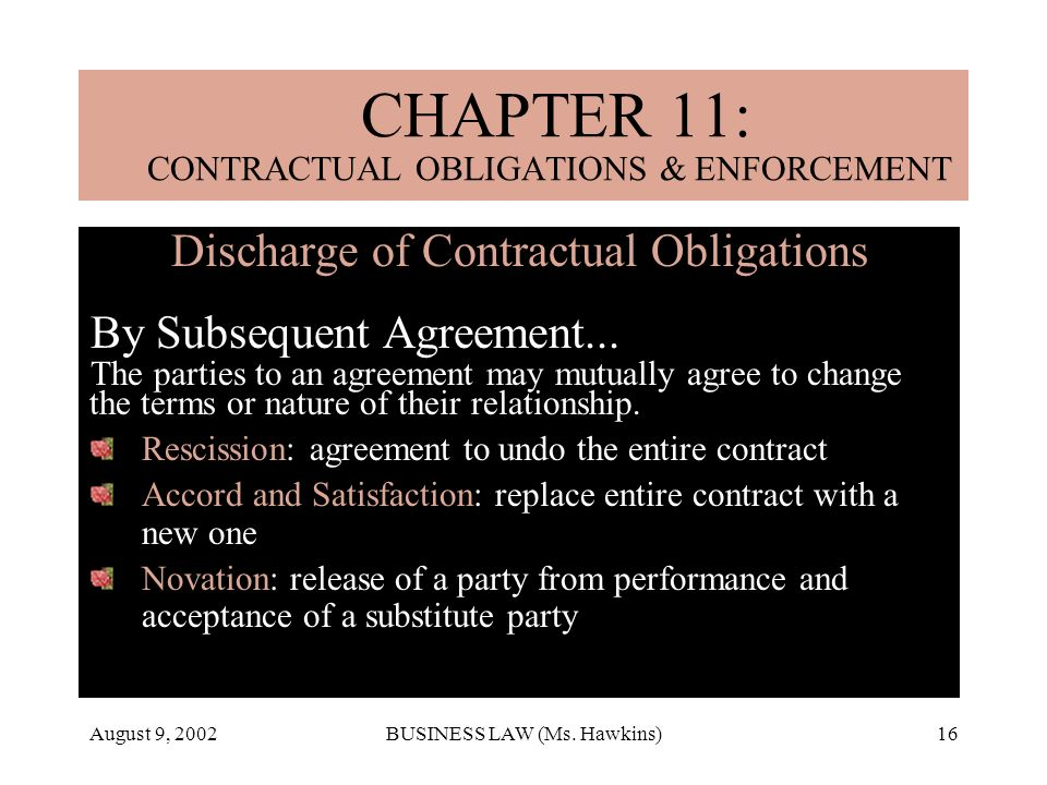 August 9, 2002BUSINESS LAW (Ms. Hawkins)16 Discharge of Contractual Obligations By Subsequent Agreement... The parties to an agreement may mutually ag