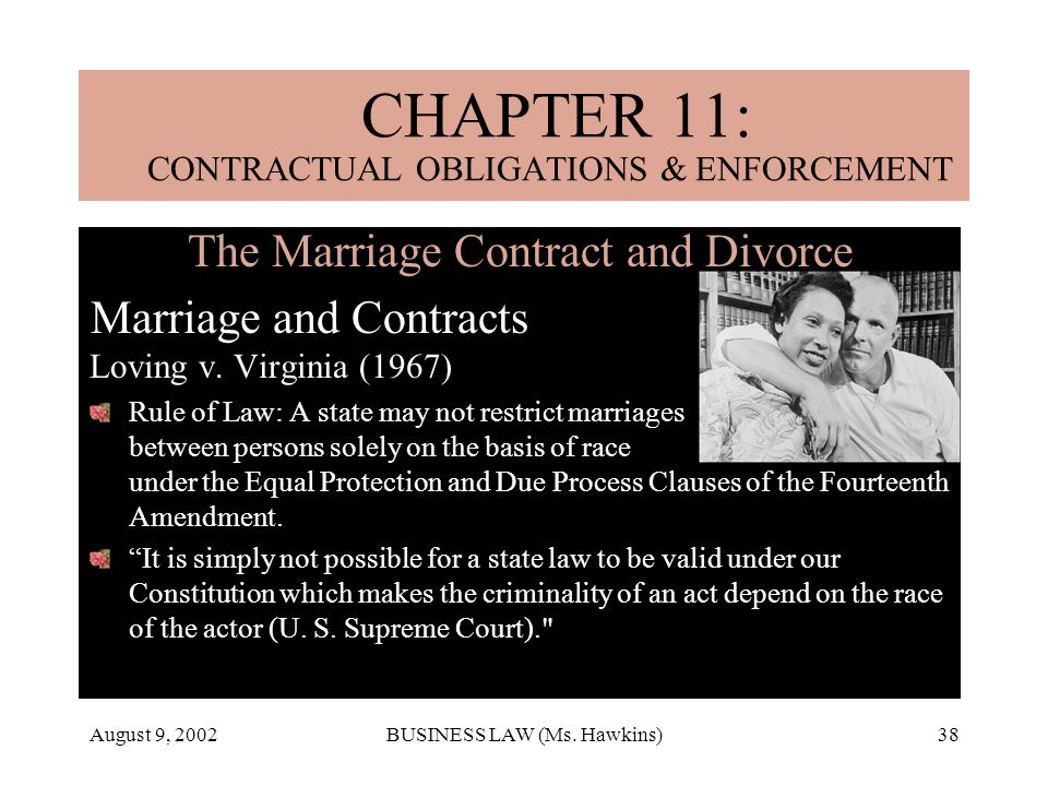 August 9, 2002BUSINESS LAW (Ms. Hawkins)38 The Marriage Contract and Divorce Marriage and Contracts Loving v. Virginia (1967) Rule of Law: A state may