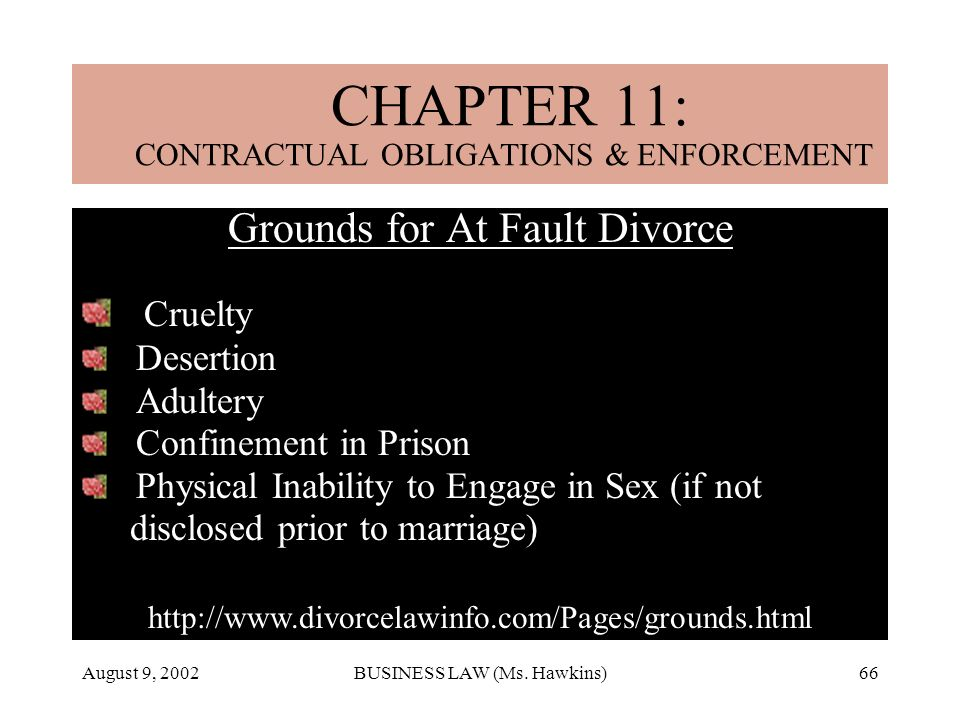 August 9, 2002BUSINESS LAW (Ms. Hawkins)66 CHAPTER 18: MARRIAGE & DIVORCE Grounds for At Fault Divorce Cruelty Desertion Adultery Confinement in Priso