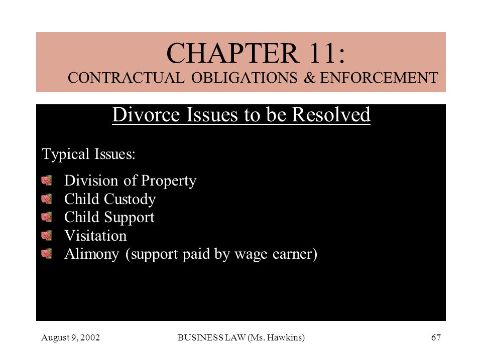 August 9, 2002BUSINESS LAW (Ms. Hawkins)67 CHAPTER 18: MARRIAGE & DIVORCE Divorce Issues to be Resolved Typical Issues: Division of Property Child Cus