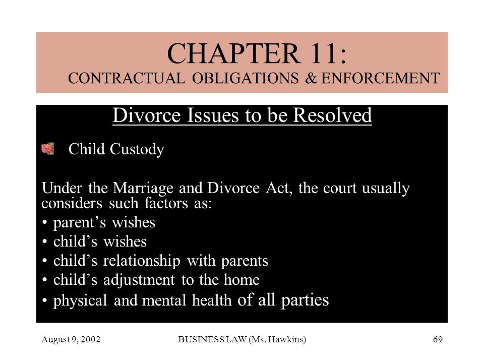 August 9, 2002BUSINESS LAW (Ms. Hawkins)69 CHAPTER 18: MARRIAGE & DIVORCE Divorce Issues to be Resolved Child Custody Under the Marriage and Divorce A
