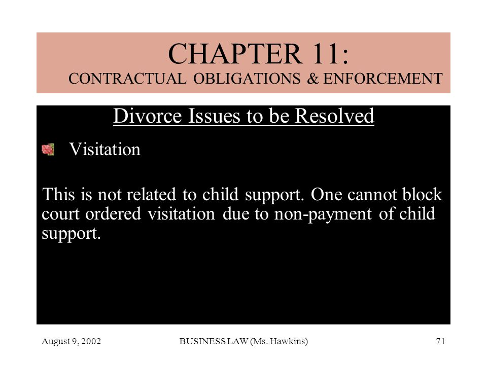 August 9, 2002BUSINESS LAW (Ms. Hawkins)71 CHAPTER 18: MARRIAGE & DIVORCE Divorce Issues to be Resolved Visitation This is not related to child suppor