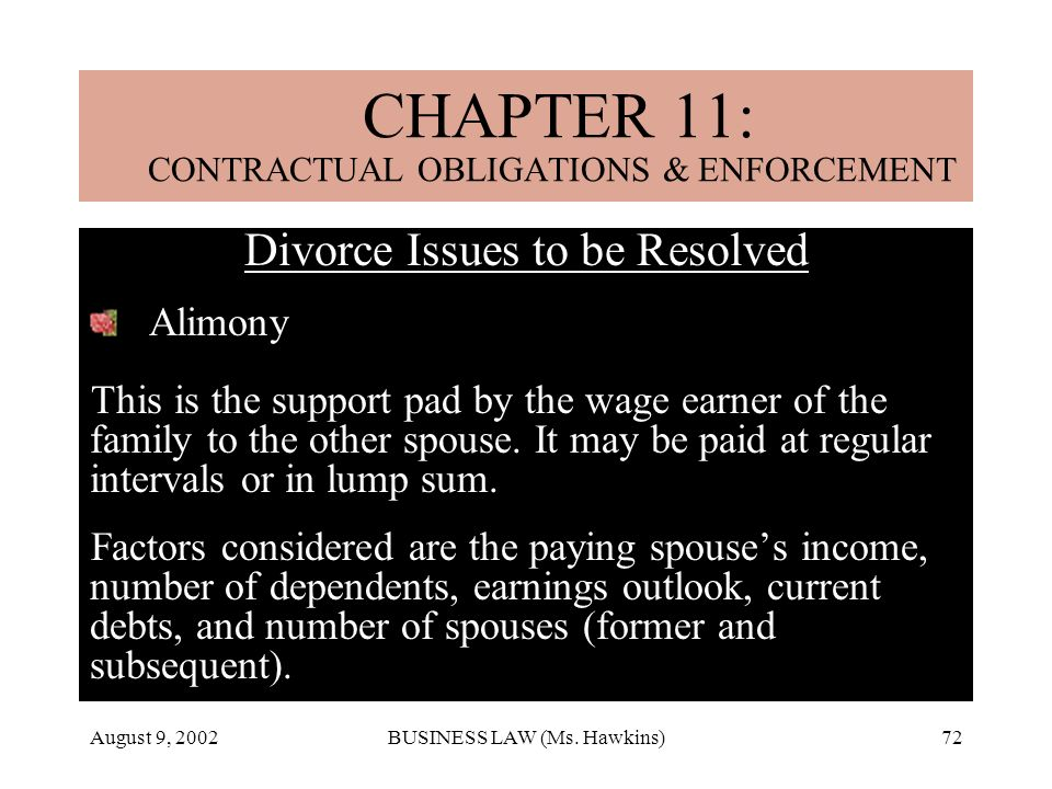 August 9, 2002BUSINESS LAW (Ms. Hawkins)72 CHAPTER 18: MARRIAGE & DIVORCE Divorce Issues to be Resolved Alimony This is the support pad by the wage ea