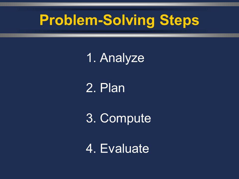 Problem-Solving Steps 1. Analyze 2. Plan 3. Compute 4. Evaluate