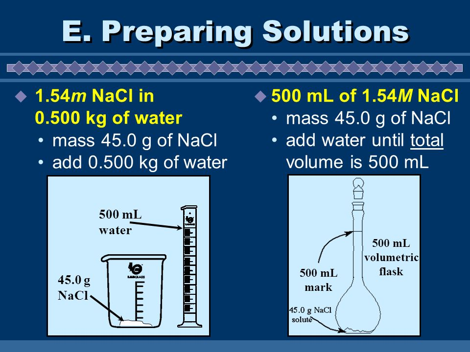 E. Preparing Solutions 500 mL of 1.54M NaCl 500 mL water 45.0 g NaCl mass 45.0 g of NaCl add water until total volume is 500 mL mass 45.0 g of NaCl ad
