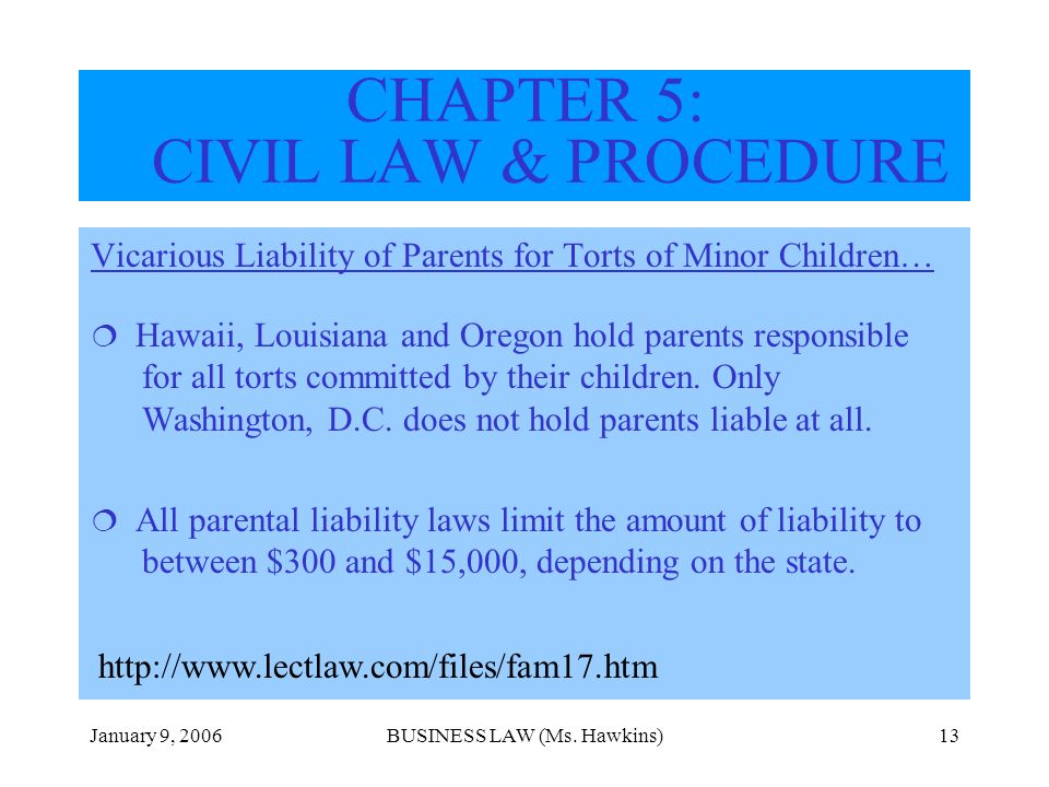 January 9, 2006BUSINESS LAW (Ms. Hawkins)13 CHAPTER 5: CIVIL LAW & PROCEDURE Vicarious Liability of Parents for Torts of Minor Children… Hawaii, Louis