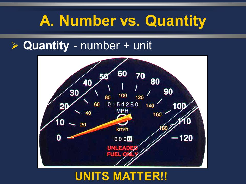 A. Number vs. Quantity Quantity - number + unit UNITS MATTER!!