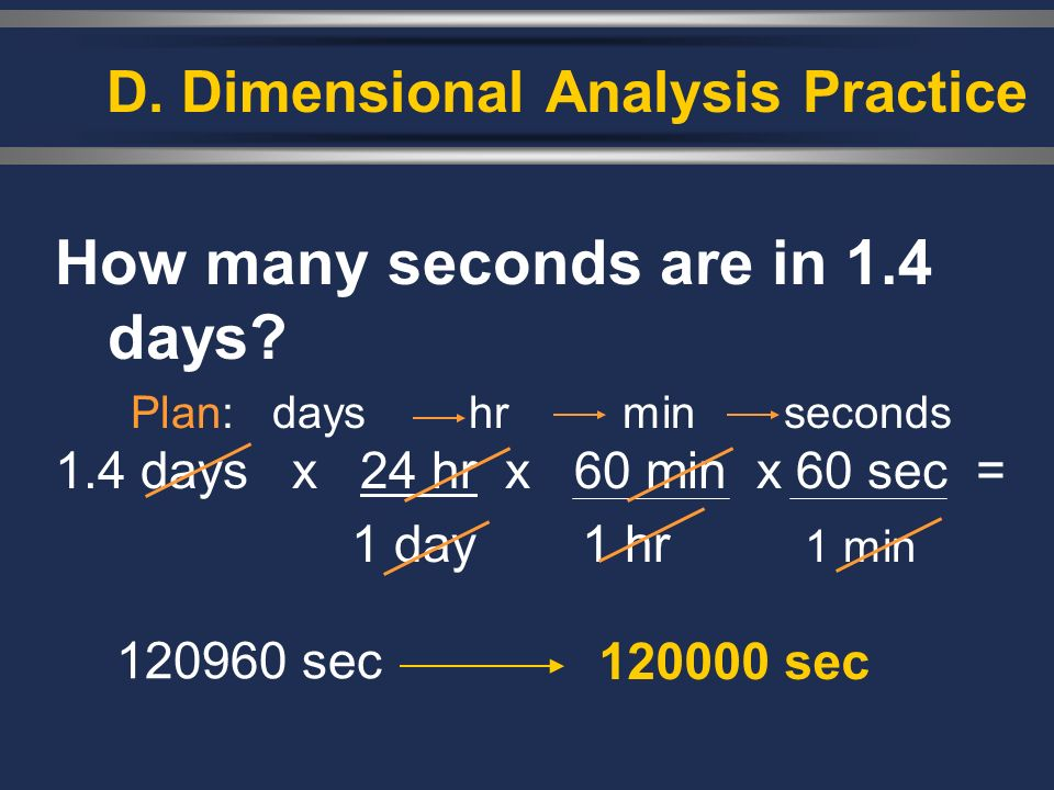 How many seconds are in 1.4 days? Plan: days hr min seconds 1.4 days x 24 hr x 60 min x 60 sec = 1 day1 hr 1 min D. Dimensional Analysis Practice 1209