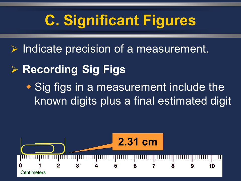 C. Significant Figures Indicate precision of a measurement. Recording Sig Figs Sig figs in a measurement include the known digits plus a final estimat