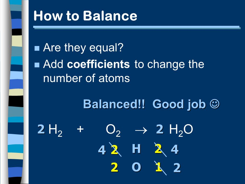 How to Balance n Are they equal? n Add coefficients to change the number of atoms H 2 + O 2 H 2 O H O 2 2 2 1 2 4 2 2 4 Balanced!! Good job Balanced!!