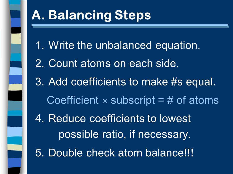 A. Balancing Steps 1.Write the unbalanced equation. 2.Count atoms on each side. 3.Add coefficients to make #s equal. Coefficient subscript = # of atom