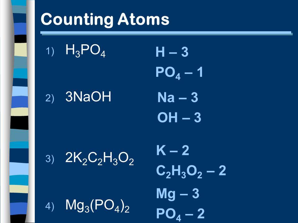 Counting Atoms 1) H 3 PO 4 2) 3NaOH 3) 2K 2 C 2 H 3 O 2 4) Mg 3 (PO 4 ) 2 H – 3 PO 4 – 1 Na – 3 OH – 3 K – 2 C 2 H 3 O 2 – 2 Mg – 3 PO 4 – 2