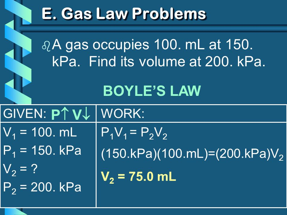 GIVEN: V 1 = 100. mL P 1 = 150. kPa V 2 = ? P 2 = 200. kPa WORK: P 1 V 1 = P 2 V 2 E. Gas Law Problems b A gas occupies 100. mL at 150. kPa. Find its