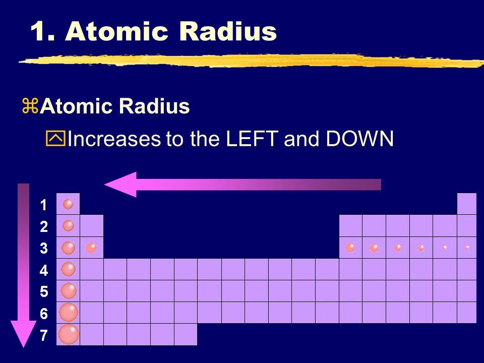 zAtomic Radius yIncreases to the LEFT and DOWN 1. Atomic Radius