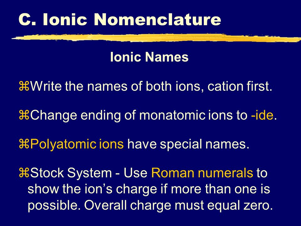 C. Ionic Nomenclature Ionic Names zWrite the names of both ions, cation first. zChange ending of monatomic ions to -ide. zPolyatomic ions have special