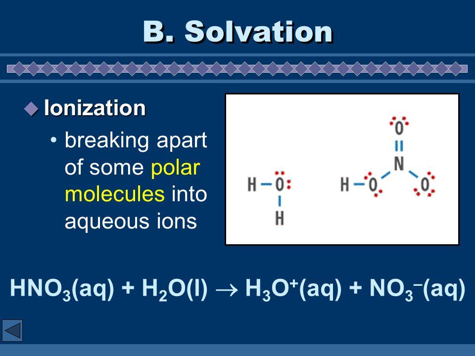 B. Solvation Ionization Ionization breaking apart of some polar molecules into aqueous ions HNO 3 (aq) + H 2 O(l) H 3 O + (aq) + NO 3 – (aq)