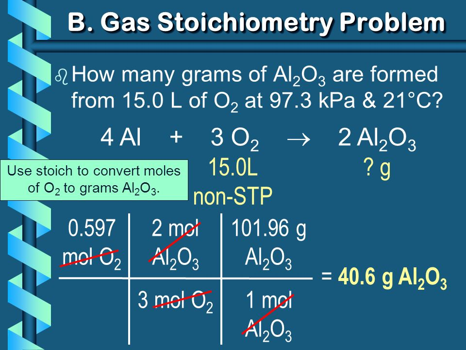 2 mol Al 2 O 3 3 mol O 2 B. Gas Stoichiometry Problem b How many grams of Al 2 O 3 are formed from 15.0 L of O 2 at 97.3 kPa & 21°C? 0.597 mol O 2 = 4