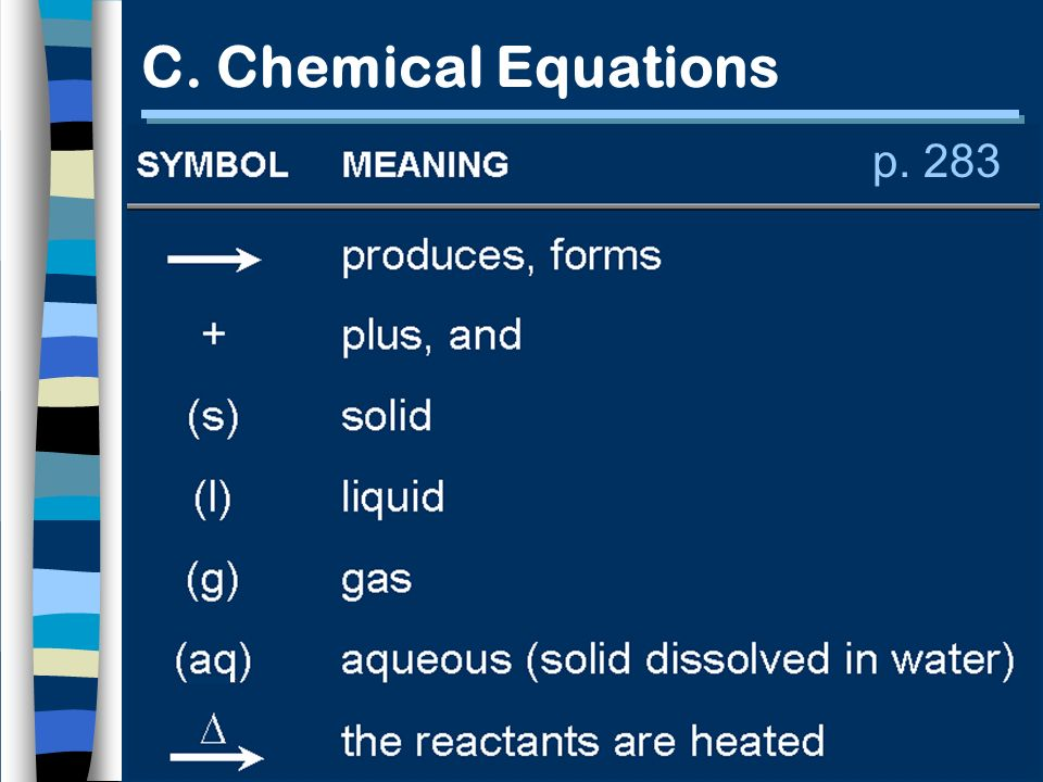 p. 283 C. Chemical Equations