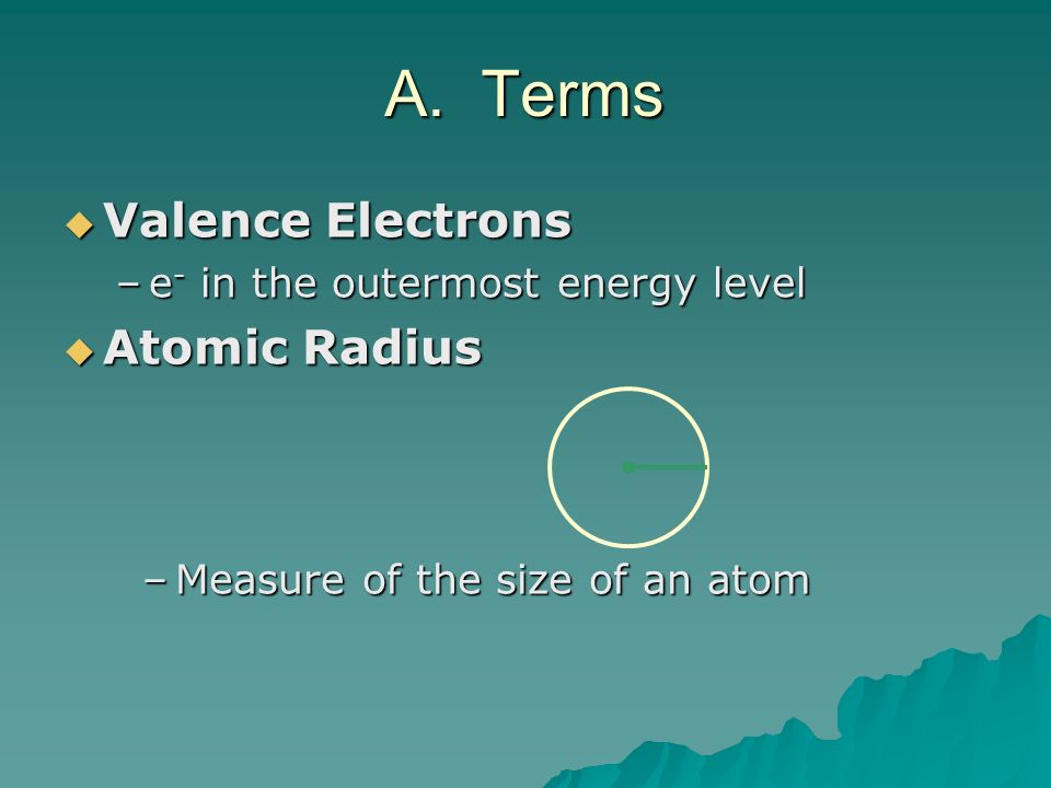 Valence Electrons Valence Electrons –e - in the outermost energy level Atomic Radius Atomic Radius –Measure of the size of an atom