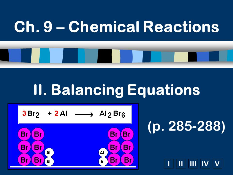 IIIIIIIVV II. Balancing Equations (p. 285-288) Ch. 9 – Chemical Reactions