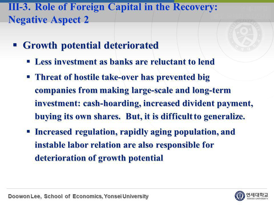 Growth potential deteriorated Growth potential deteriorated Less investment as banks are reluctant to lend Less investment as banks are reluctant to lend Threat of hostile take-over has prevented big companies from making large-scale and long-term investment: cash-hoarding, increased divident payment, buying its own shares.
