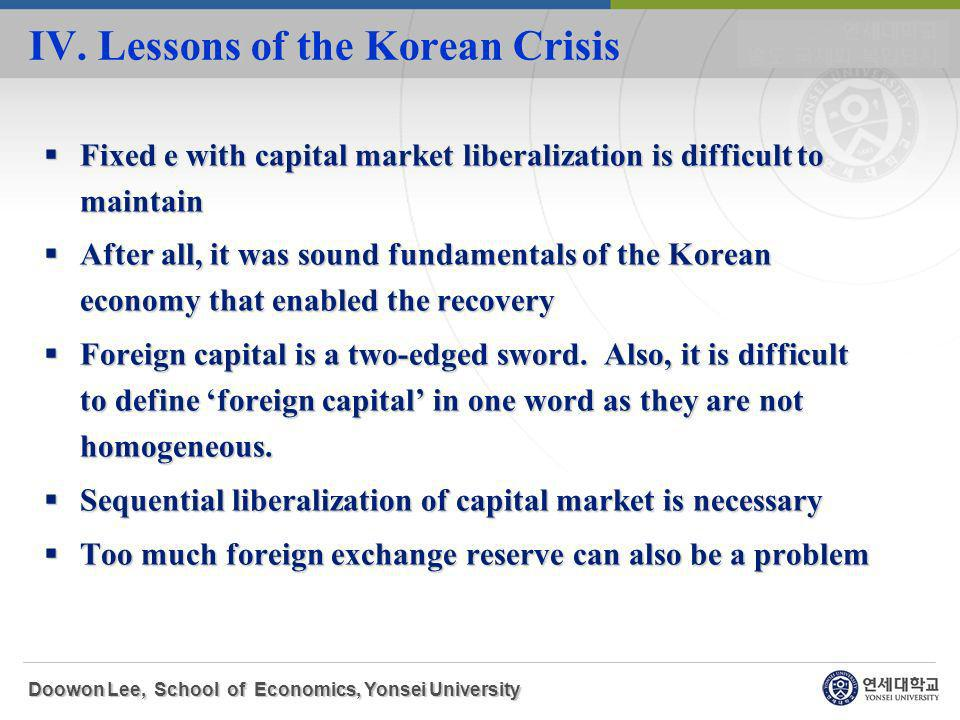 Fixed e with capital market liberalization is difficult to maintain Fixed e with capital market liberalization is difficult to maintain After all, it was sound fundamentals of the Korean economy that enabled the recovery After all, it was sound fundamentals of the Korean economy that enabled the recovery Foreign capital is a two-edged sword.