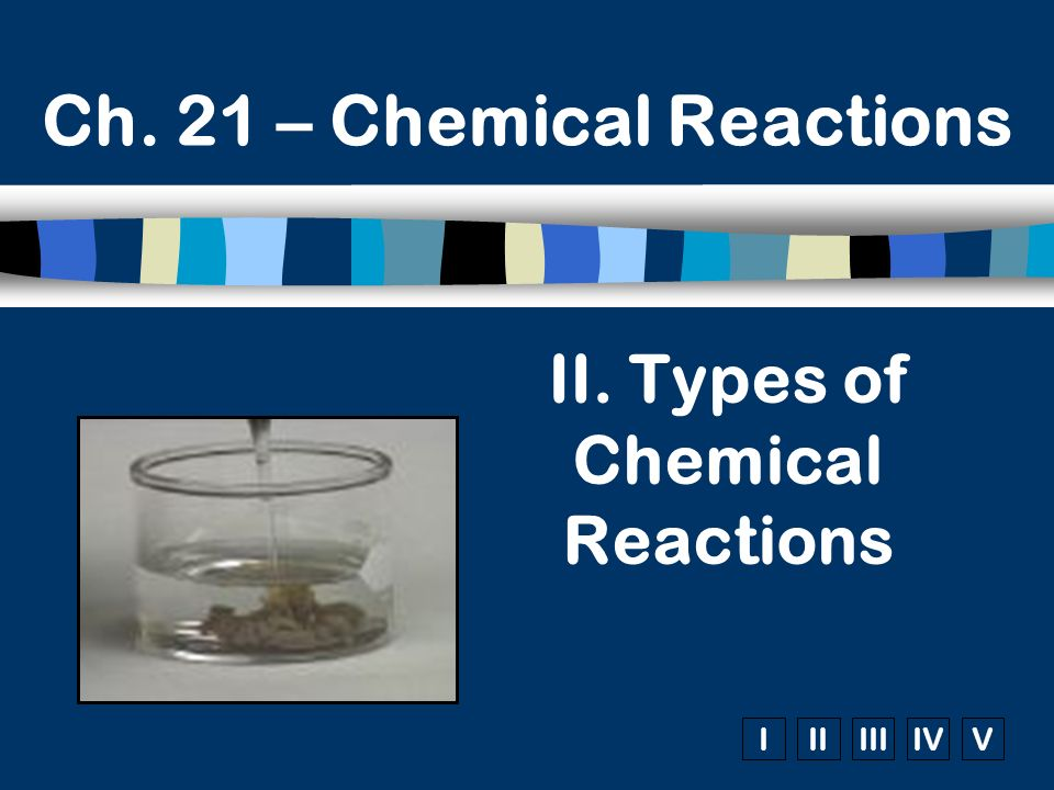 IIIIIIIVV Ch. 21 – Chemical Reactions II. Types of Chemical Reactions