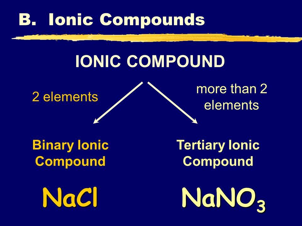 B. Ionic Compounds IONIC COMPOUND Tertiary Ionic Compound Binary Ionic Compound 2 elements more than 2 elements NaNO 3 NaCl
