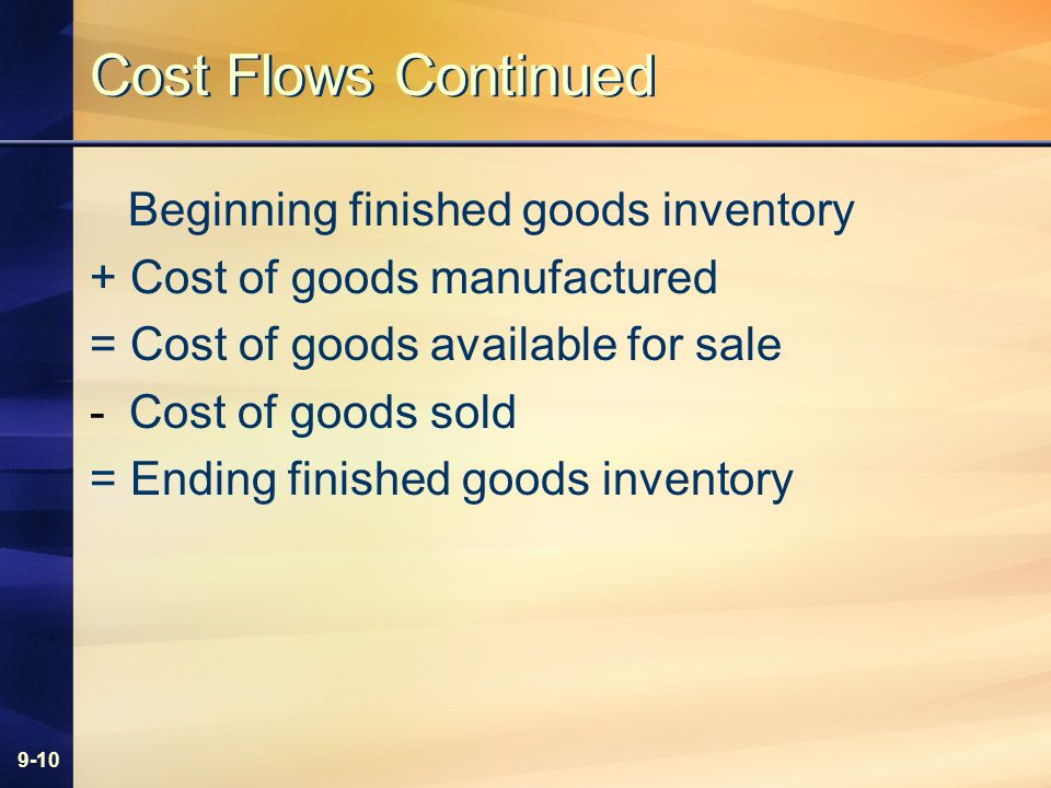 9-10 Cost Flows Continued Beginning finished goods inventory + Cost of goods manufactured = Cost of goods available for sale -Cost of goods sold = End