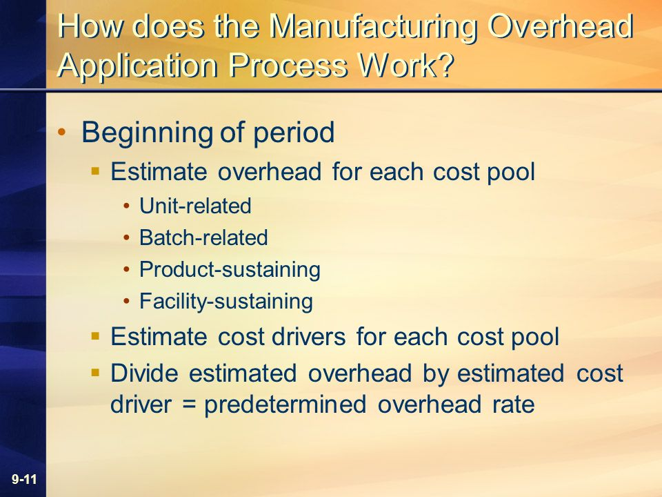 9-11 How does the Manufacturing Overhead Application Process Work? Beginning of period Estimate overhead for each cost pool Unit-related Batch-related