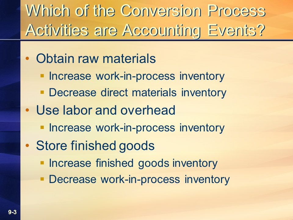 9-3 Which of the Conversion Process Activities are Accounting Events? Obtain raw materials Increase work-in-process inventory Decrease direct material