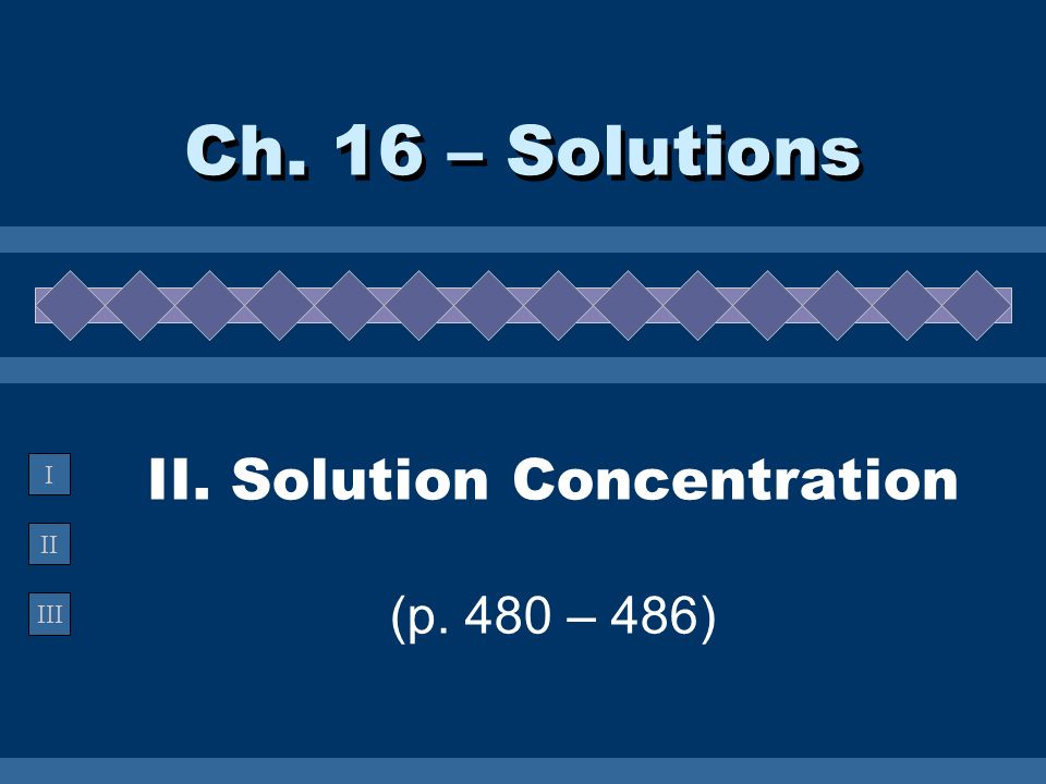 II III I II. Solution Concentration (p. 480 – 486) Ch. 16 – Solutions