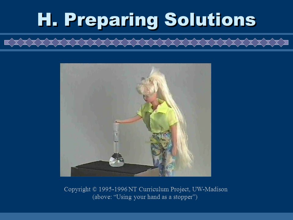 H. Preparing Solutions Copyright © 1995-1996 NT Curriculum Project, UW-Madison (above: Using your hand as a stopper)