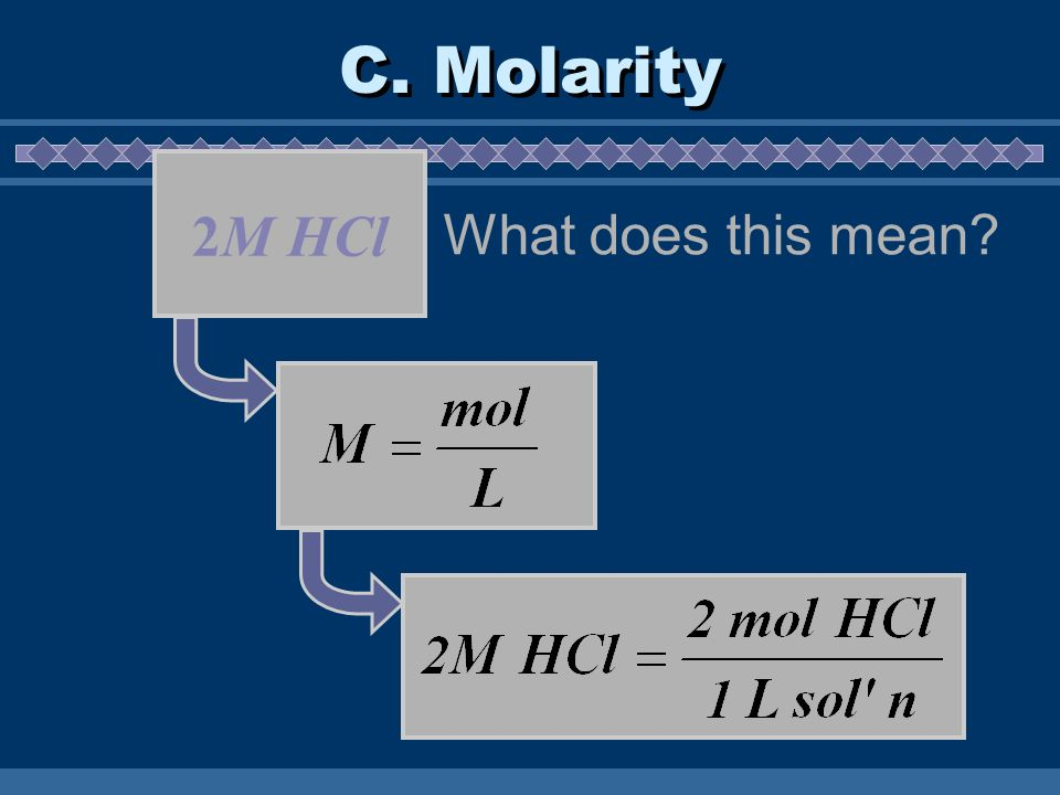 C. Molarity 2M HCl What does this mean?