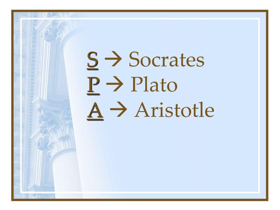 S P A S Socrates P Plato A Aristotle
