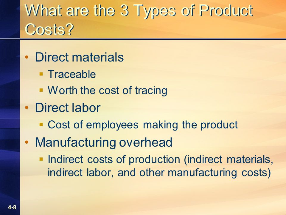 4-8 What are the 3 Types of Product Costs.
