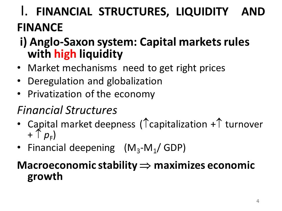 I. FINANCIAL STRUCTURES, LIQUIDITY AND FINANCE i) Anglo-Saxon system: Capital markets rules with high liquidity Market mechanisms need to get right pr