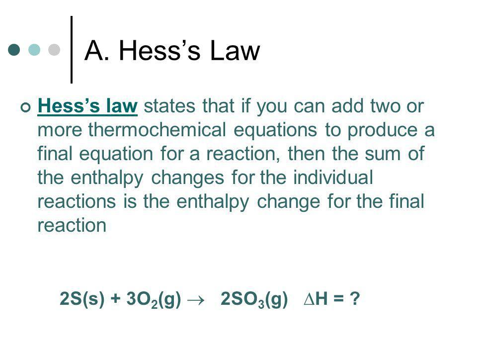 Thermochemistry Chapter 17:4 Hesss Law and Standard Enthalpies of Formation Pages 527 – 532