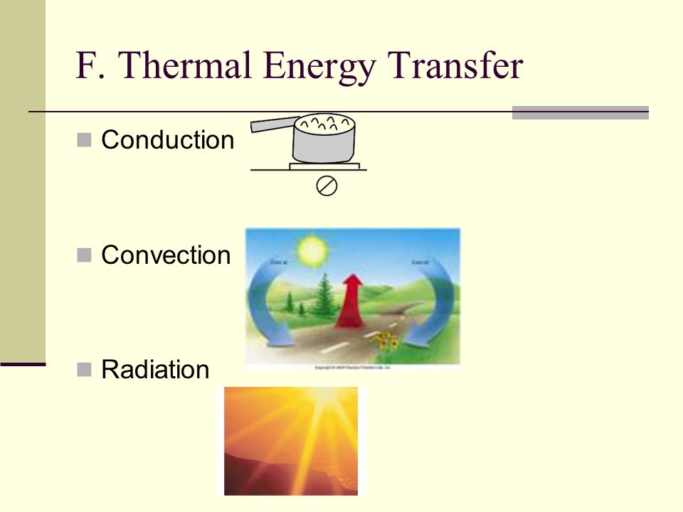 F. Thermal Energy Transfer Conduction Convection Radiation